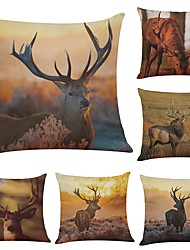 Set of 6 Elk Linen Cushion Cover Home Office Sofa Square Pillow Case Decorative Cushion Covers Pillowcases (18*18Inch)