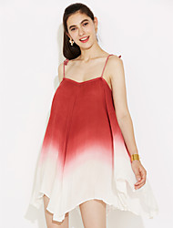 cheap -Women's Street chic Loose Skater Dress - Solid Colored Color Block