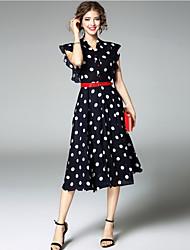 Swing Vestito Da donna-Per uscire Romantico A pois A V Medio Manica corta Poliestere Estate A vita bassa Media elasticità Medio spessore