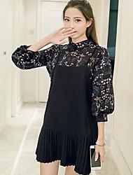 baratos -Mulheres Malha Íntima Floral Saia Colarinho de Camisa