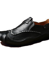 cheap -Men's Loafers & Slip-Ons Comfort Fall Winter Cowhide Casual Outdoor Office & Career Flat Heel Black Brown Flat