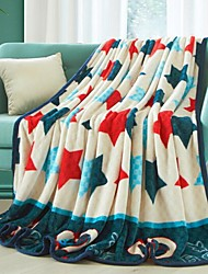cheap -Coral fleece, Printed Stars Polyester/Cotton Blend Blankets