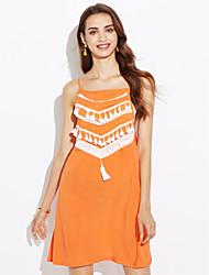 Χαμηλού Κόστους kamila-Γυναικεία Παραλία Θήκη Φόρεμα - Patchwork, Εξώπλατο Φούντα Τιράντες