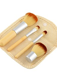 cheap -4pcs Bamboo Makeup Brush Set Blush Brush Eyeshadow Brush Lip Brush Brow Brush Eyeliner Brush Eyelash Brush Sponge Applicator Foundation Brush