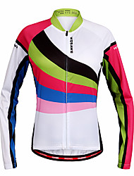 baratos -WOSAWE Mulheres Manga Longa Camisa para Ciclismo - Arco-Íris Moto Camisa / Roupas Para Esporte, Secagem Rápida Poliéster