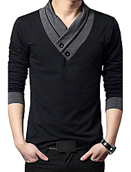 cheap -Men's Daily Holiday Going out Work Club Vintage Casual Chinoiserie Winter Fall Polo,Color Block V Neck Long Sleeves Cotton Medium