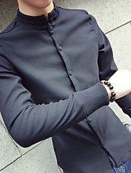 Men's Going out Casual/Daily Simple Shirt,Solid Turtleneck Long Sleeves Cotton Polyester Spandex Others