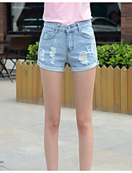 cheap -Women's High Rise Micro-elastic Slim Jeans Shorts Pants,Casual Solid Summer