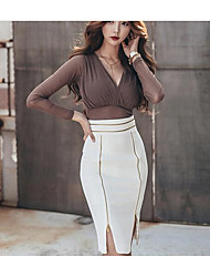 Women's Work Bodycon Dress,Solid V Neck Knee-length Long Sleeves Others Spring Fall Mid Rise Micro-elastic Medium