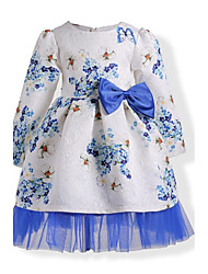 cheap -Girl's Birthday Daily Holiday Solid Floral Dress,Cotton Winter Fall Long Sleeve Floral Lace Bow Blue