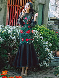 Women's Going out Sheath Dress,Embroidered Round Neck Maxi Long Sleeves Polyester Spring Summer Mid Rise Micro-elastic Thin