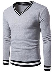 preiswerte -Herrn Solide Alltag Freizeit Pullover Standard Langarm V-Ausschnitt Winter Herbst Baumwolle