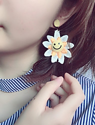 cheap -1 Pair Of Sun Flowers Sweet And Lovely Earring/Embroidery Flowers Ear Nails/Smiley Face Colored Earrings