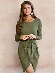 Women's Casual/Daily Street chic Sheath Dress,Solid Round Neck Above Knee Long Sleeves Linen Spring Fall Mid Rise Micro-elastic Medium