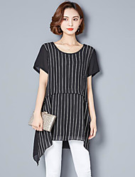 economico -Per donna Classico Largo Vestito - Classico, A strisce Sopra il ginocchio