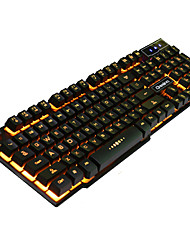cheap -RUYINIAO V-8 Gaming Backlit Keyboard 104 Keys USB Cable Monochrome Yellow