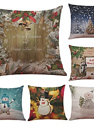 Set of 6 Christmas Snow Pattern Linen Cushion Cover Home Office Sofa Square Pillow Case Decorative Cushion Covers Pillowcases (18*18Inch)