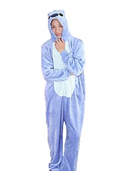 cheap -Kigurumi Pajamas Blue Monster Cartoon Onesie Pajamas Costume Flannel Fabric Blue Pink Cosplay For Animal Sleepwear Cartoon Halloween
