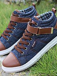 Herren Sneaker Stiefeletten Herbst Winter Denim Jeans Normal Schnürsenkel Klett Flacher Absatz Schwarz Blau Flach