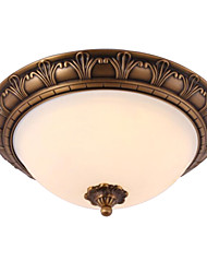 Traditional Classic Brass 2 Light  Ceiling Fixture  Flush Mount Antique