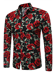 Men's Large Size Fashion Flower Printing Long Sleeve Shirt