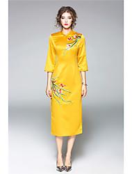 ZIYI   Women's Casual/Daily Sheath DressSolid Striped Shirt Collar Above Knee Long Sleeve Cotton Fall Mid Rise Micro-elastic Medium