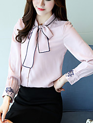 Women's Going out Casual/Daily Simple Fall Blouse,Solid Round Neck Long Sleeves Silk Cotton