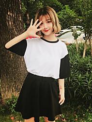 Damen Einfarbig Einfach Lässig/Alltäglich T-Shirt-Ärmel Rock Anzüge,Rundhalsausschnitt Sommer ½ Ärmel