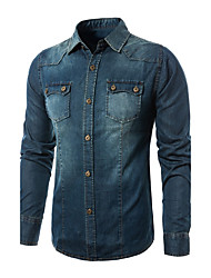 cheap -Men's Weekend Vintage Cotton Slim Shirt - Color Block, Denim