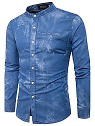 abordables -Hombre Simple Noche Otoño Camisa,Escote Chino Un Color Manga Larga Algodón