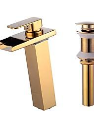 baratos -Conjunto Central Cascata Válvula Cerâmica Uma Abertura Dourado, Faucet Set