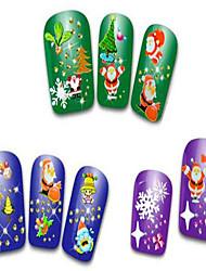 cheap -24pcs Christmas Nail Art Stickers Decals Snowflakes Snowman