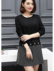 billige -Dame Plusstørrelser I-byen-tøj Bomuld A-linje Kjole - Farveblok Over knæet