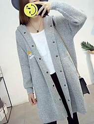 Standard Cardigan Da donna-Spiaggia Monocolore Con cappuccio Manica lunga Altro Primavera Estate Medio spessore Media elasticità