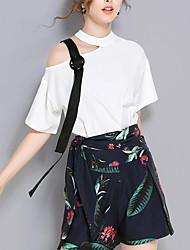 T-shirt Pantalone Completi abbigliamento Da donna Feste Semplice Sensuale Estate Autunno,Stampe Rotonda Collage Manica corta