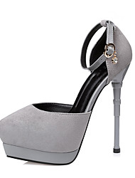 cheap -Women's Shoes Fabric Spring / Fall Ankle Strap Heels Stiletto Heel Pointed Toe Rhinestone / Buckle Gray / Green / Burgundy / Dress