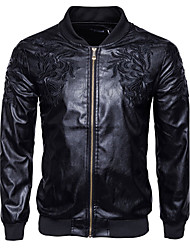 Men's Going out Casual/Daily Work Simple Active Chinoiserie Fall Winter Leather Jacket,Solid Shirt Collar Long Sleeve Regular Cotton