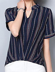 cheap -Women's Daily Casual Shirt,Striped V Neck Short Sleeves Linen Others