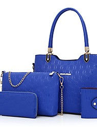 Women Bags PU Bag Set 4 Pieces Purse Set Zipper for Event/Party Casual Outdoor All Seasons Blue Gold White Black Red