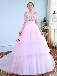 Ball Gown Jewel Neck Court Train Tulle Prom Wedding Party Dress with Beading Lace by SG