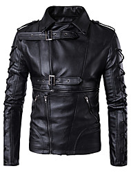 cheap -Men's Daily Simple Casual Winter Fall Leather Jacket,Solid Shawl Lapel Long Sleeve Regular PU