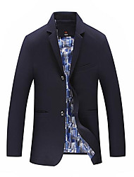 Men's Casual/Daily Simple Fall Jacket,Solid Print Stand Long Sleeve Regular Cotton