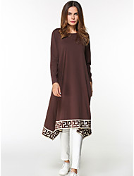 Women's Casual/Daily Loose Dress,Solid Round Neck Knee-length Long Sleeves Cotton Fall High Rise Inelastic Thin