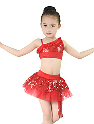 MiDee Latin Dance Outfits Children's Performance Spandex / Polyester / Organza / Sequined Bow(s) / Paillettes / Sequins / Tiers 2 Pieces