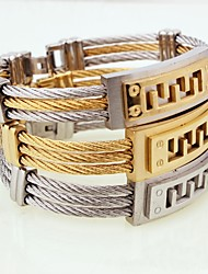cheap -Men's Boys' Bangles Cuff Bracelet Metallic Personalized Friendship Open Fashion Titanium Steel Silver Plated Gold Plated Circle Jewelry
