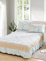 abordables -Floral 4 Piezas Algodón Estampado Algodón 1 Funda de edredón 2 Fundas de Almohada 1 Falda de cama
