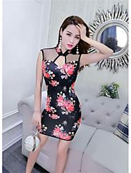 cheap -Women's Club Sheath Dress,Print V Neck Above Knee Sleeveless Polyester Summer Mid Rise Micro-elastic Thin