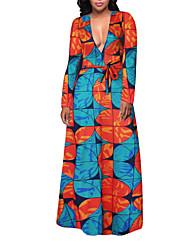 Gaine Balançoire Robe Femme Soirée Vacances Grandes Tailles Sexy Vintage Bohème,Imprimé V Profond Maxi Manches Longues PolyesterPrintemps
