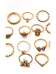 13 Pcs/set Women's Midi Rings Crystal Rhinestone Fashion Vintage Elegant Imitation Diamond Alloy Round Hamsa Hand Elephant Jewelry ForDaily Casual