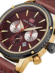 preiswerte -MINI FOCUS Herrn Armbanduhr Armbanduhren für den Alltag Japanisch Quartz Kalender Armbanduhren für den Alltag Stopuhr Echtes Leder Band